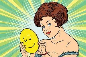 Beautiful woman with mask Emoji dream