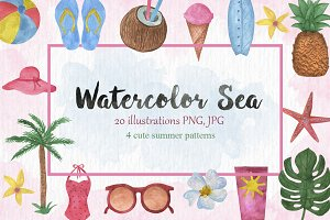Watercolor Sea Vintage set