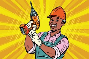 Construction African American worker with the drill