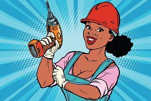 Woman professional. Construction worker with drill