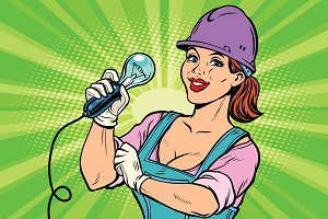 Construction worker with light bulb. Woman professional