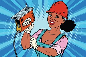 Construction worker with jigsaw. Woman professional