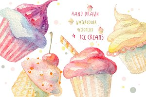 Watercolor ice creams, vectorized.