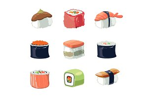 Sushi set. Vector illustration
