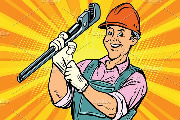 Construction Worker With Adjustable Wrench