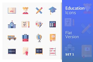 Education Icons Set 1 - Flat Series