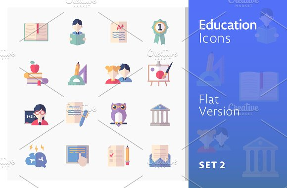 Education Icons Set 2 Flat Series