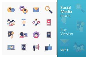 Flat Social Media Icons - Set 1