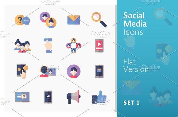 Flat Social Media Icons Set 1
