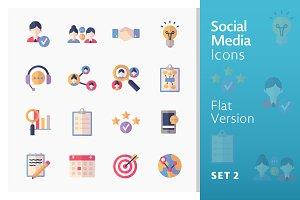 Flat Social Media Icons - Set 2