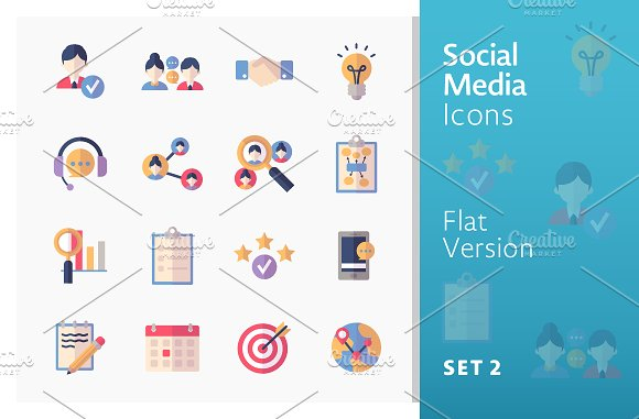 Flat Social Media Icons Set 2