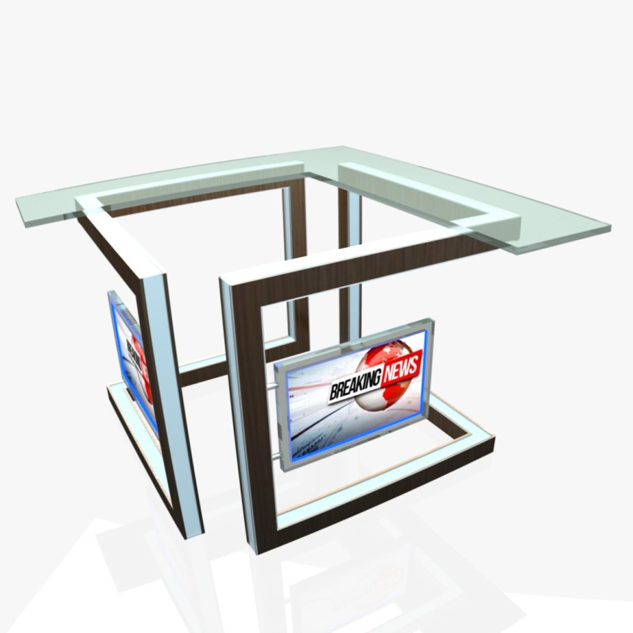 TV Studio News Desk 3 in Furniture - product preview 1
