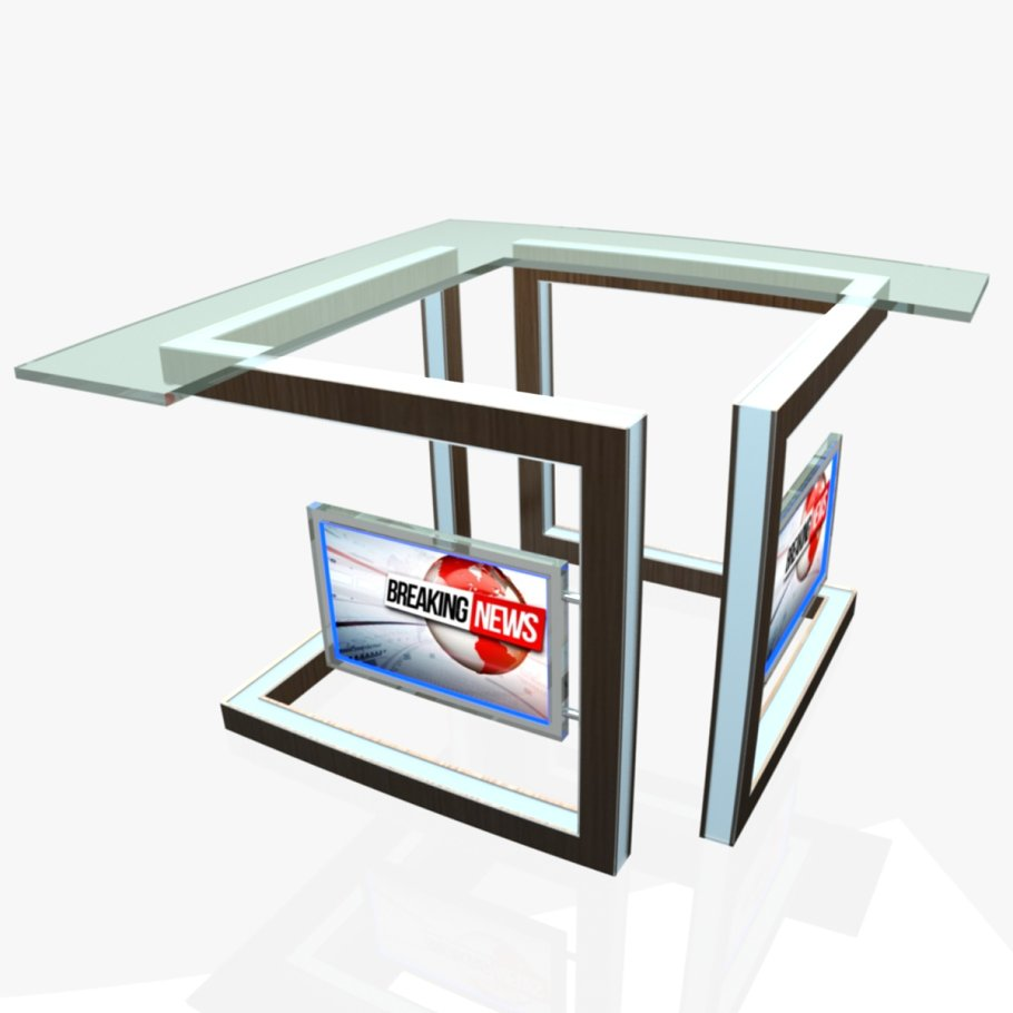 TV Studio News Desk 3 in Furniture - product preview 2