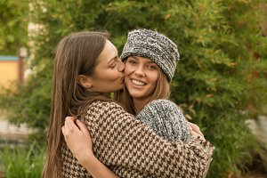 two women candid cute outdoors etno