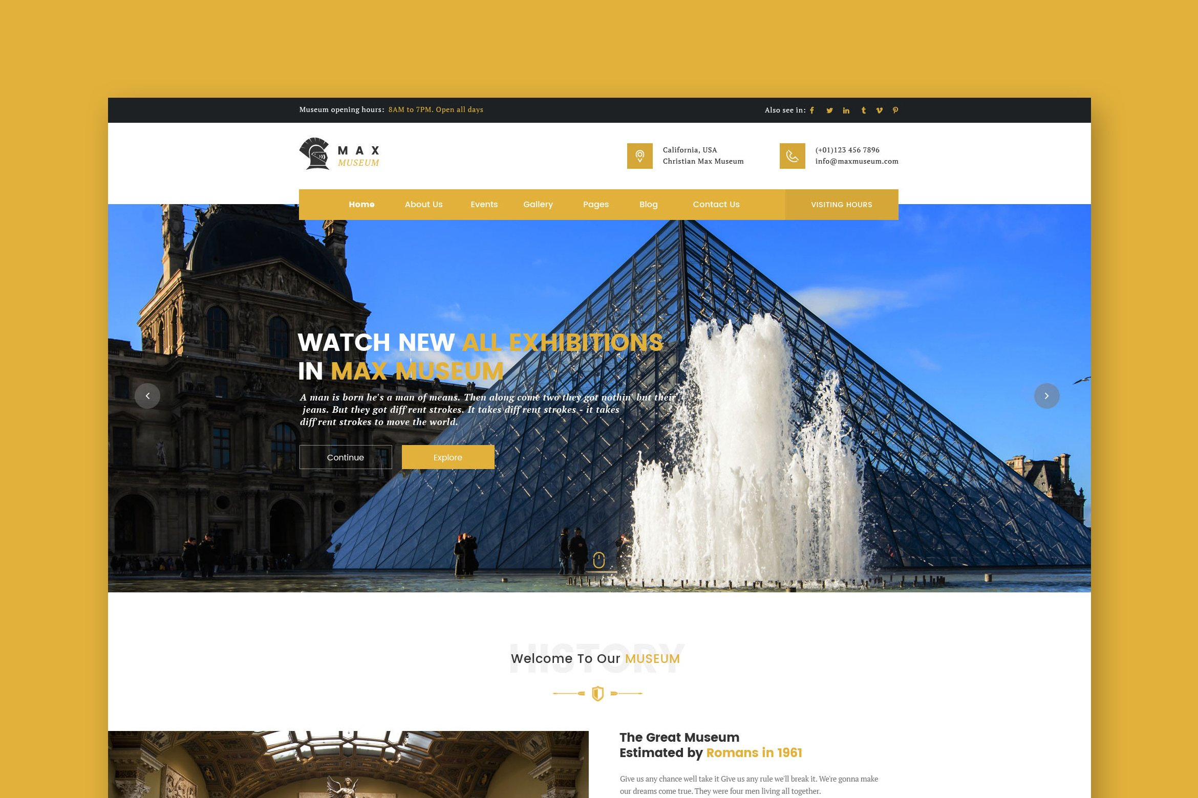 Museum HTML Template  HTMLCSS Themes On Creative Market - Christian museums in the usa