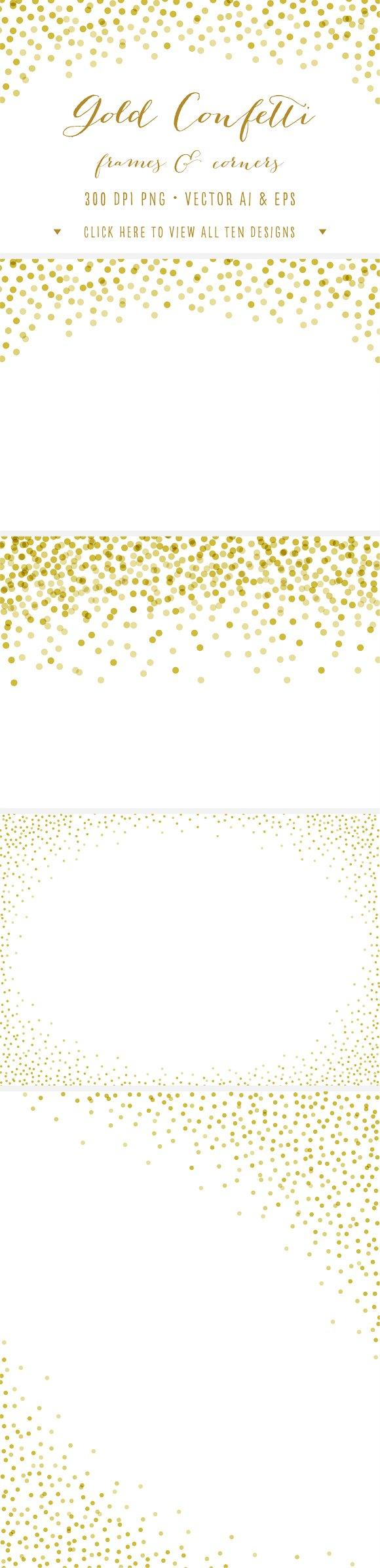 Gold Confetti Frames Corners