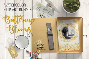 Watercolor bundle: Buttercup blooms