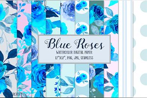 Blue Rose Digital Paper Watercolor