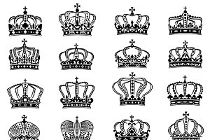 Royal crowns set in black on white