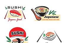 Japanese sushi seafood emblem design