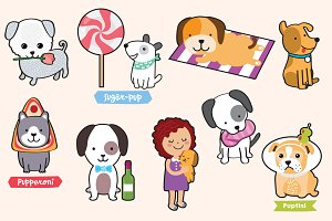 Puppies! cute illustration of dogs