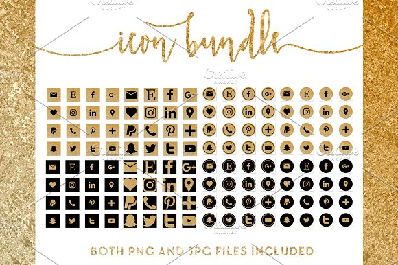 Gold And Black Icon Bundle