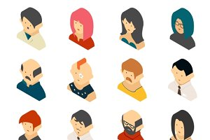 Isometric Colored User Icons
