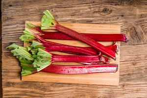 Rhubarb stalks on a cutting board