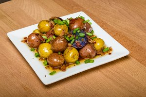 Fresh new potatoes boiled and dressed