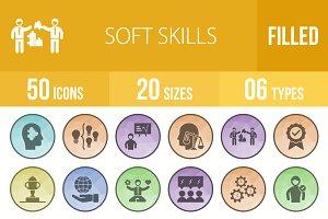 50 Soft Skills Low Poly B/G Icons