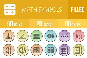 50 Math Symbols Low Poly B/G Icons