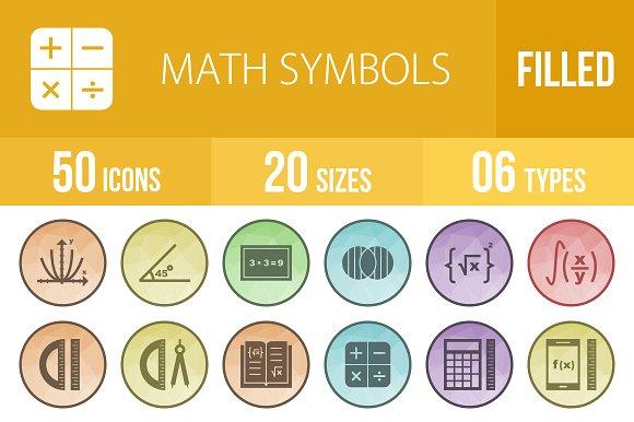 50 Math Symbols Low Poly B/G Icons