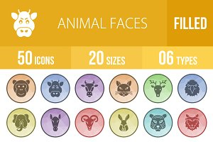 50 Animal Faces Low Poly B/G Icons