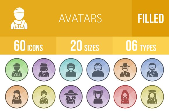 60 Avatars Filled Low Poly B G Icons