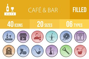 40 Cafe & Bar Low Poly B/G Icons