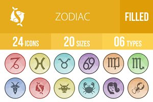 24 Zodiac Filled Low Poly B/G Icons