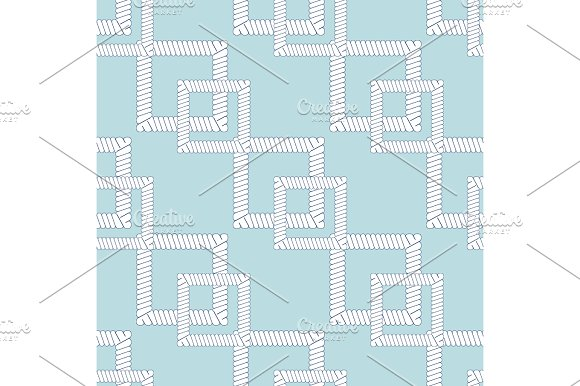 Rope Knots Marine Cord Cable Seamless Pattern Design Loop Nautical Tool Vector Illustration