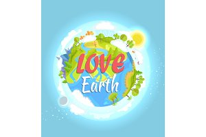 Love Earth Poster with Colorful Flourishing Planet