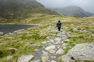 Person walking on path in Snowdonia National Park