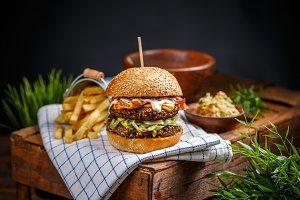 Still life of hamburger