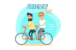 Friendship Day. Two Best Friends on Double Bicycle