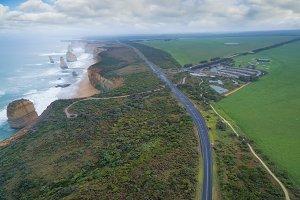 Aerial view of the Great Ocean Road