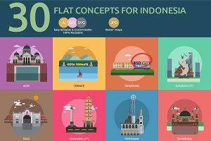 Flat Concept City of Indonesia