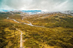 Aerial landscape of Snowy Mountains