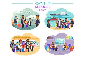 World Refugee Day Poster with People Who Move Away