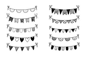 Hand drawn doodle bunting clipart