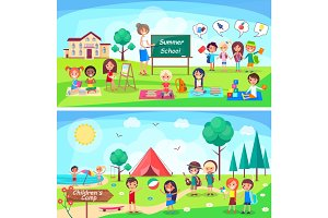 Summer School and Childrens Camp Illustrations