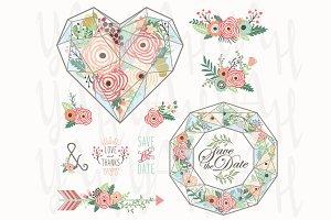 Geometric Floral Love Glass