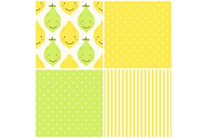 Cute seamless patterns of citrus fruits characters: lemon and lime with simple textures of friendly colors