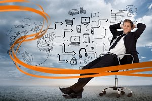 Businessman sitting in front of media device flowchart
